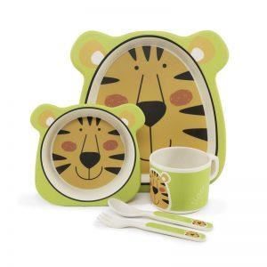 Bambusz étkészlet, 5 részes - tigris