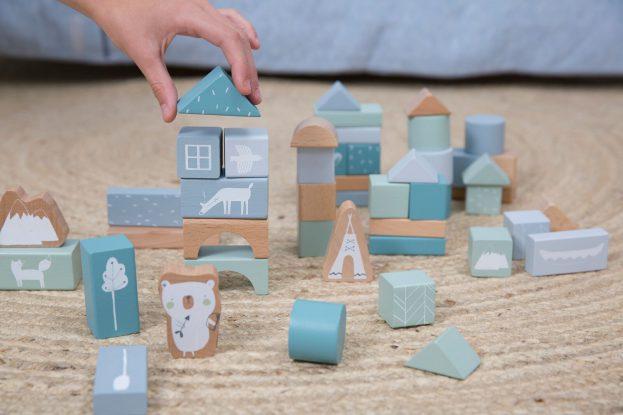fa építőLittle Dutch fa építőkocka dobozban adventure kékkocka