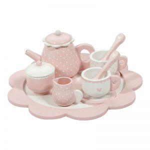 Rózsaszín fa teáskészlet