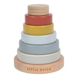 Little Dutch fa toronyépítő játék Pure&Nature