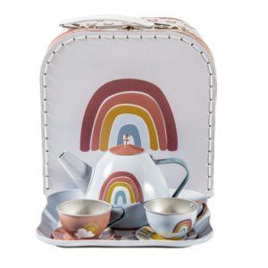 játék teáskészlet bőröndben